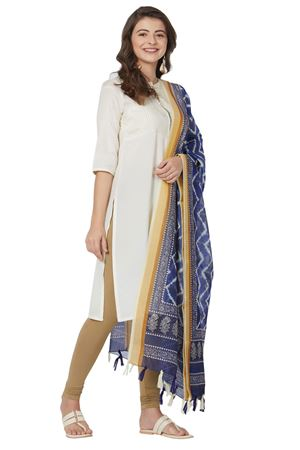 Chanderi Silk Blue Color Dupatta With Geometric Floral Digital Print
