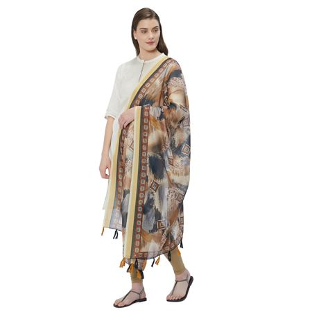Chanderi Silk Cream Color Dupatta With Classy Digital Prints