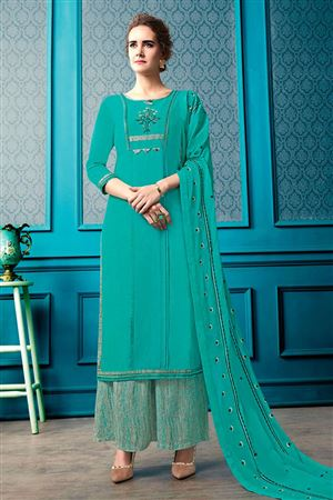 fea1c1bbb4 image of Cotton Cyan Function Wear Readymade Palazzo Suit With Embroidery  Work