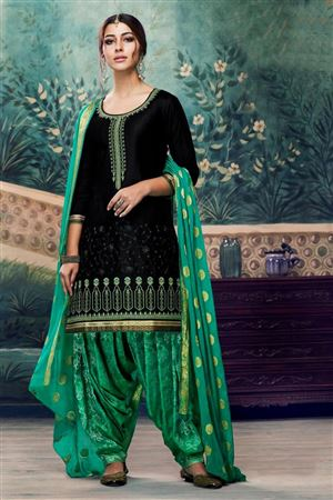 c2cd87321b image of Cotton Embroidered Festive Wear Designer Patiala Suit In Black