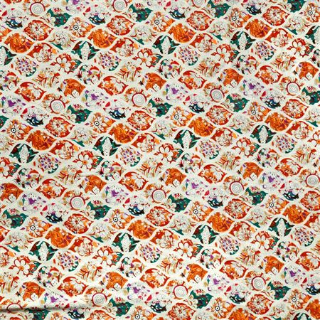 Cotton Enchanting Machine Print Orange Color Fabric - 3176C