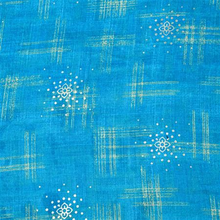 Dazzling Sky Blue Color Cotton Satin Printed Fabric - 7105C