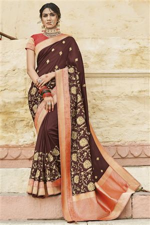 5cc7358f0b image of Designer Festive Wear Cotton Silk Brown Saree With Embroidery Work