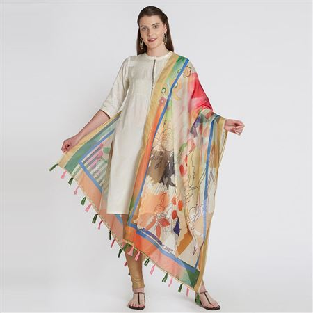 Designer Wear Cream Color Chanderi Silk Printed Dupatta