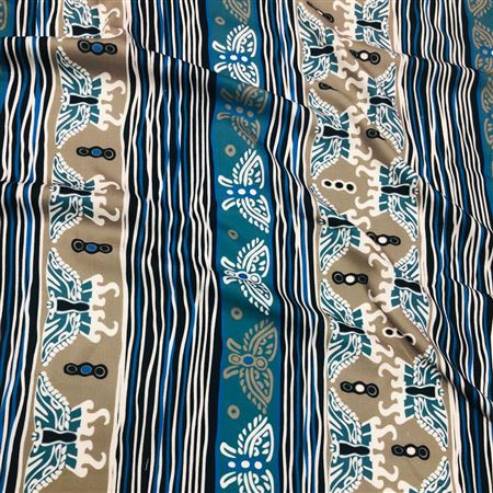 Digital Print Prime Rayon Fabric in Blue with Butterfly Prints