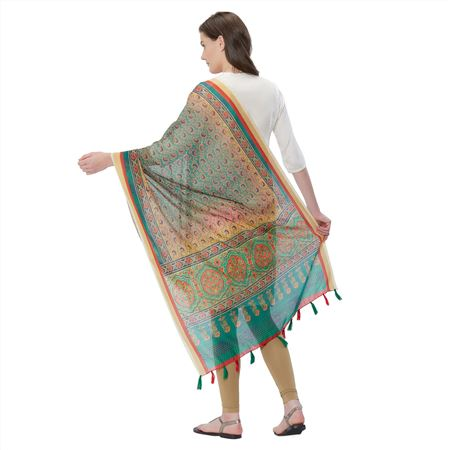 Classy Dupatta In Cyan Color With Abstract Prints On Chanderi Silk