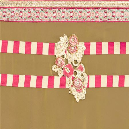 Dignified Border Work On Pink And Brown Wedding Wear Crepe Saree