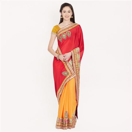 Dignified Border Work On Red And Yellow Wedding Wear Chiffon Saree