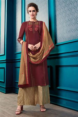 4a3dfd8795 image of Embroidery Work On Cotton Maroon Function Wear Readymade Palazzo  Salwar Suit