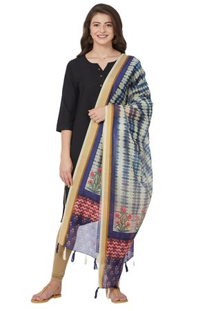 Ethnic Digitally Printed Chanderi Silk Blue Color Designer Dupatta