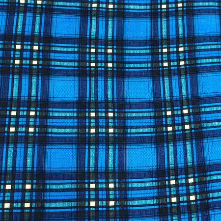 Exquisite Checks Print on Rayon Fabric in Blue Color