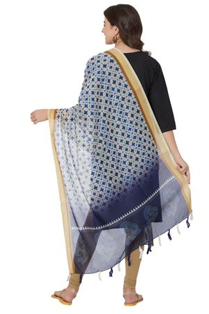 Geometric Printed Dupatta In Blue Color With Chanderi Silk Fabric