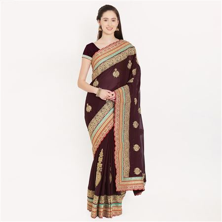 Magnetic Coffee Color Art Silk Saree With Border Work For Ethnic Look