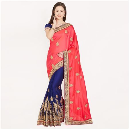 Magnetic Pink And Blue Color Crepe Saree With Border Work For Ethnic Look
