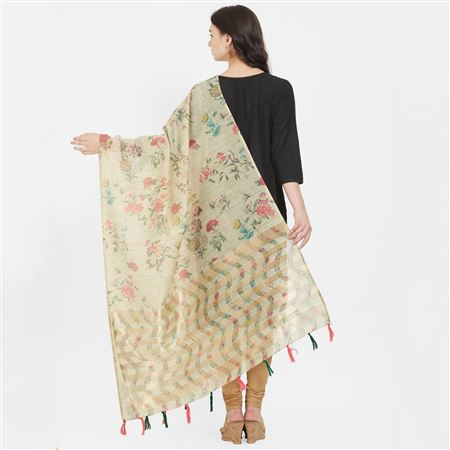 Charismatic Beige Color Cotton Silk Digital Floral Printed Dupatta