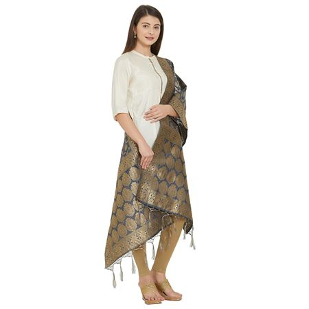 Marvelous Grey Color Woven Design Banarsi Silk Party Wear Dupatta