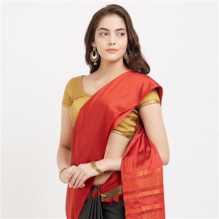 Marvelous Red And Black Color Latest Occasion Wear Cotton Silk Sari With Designer Weaving Work