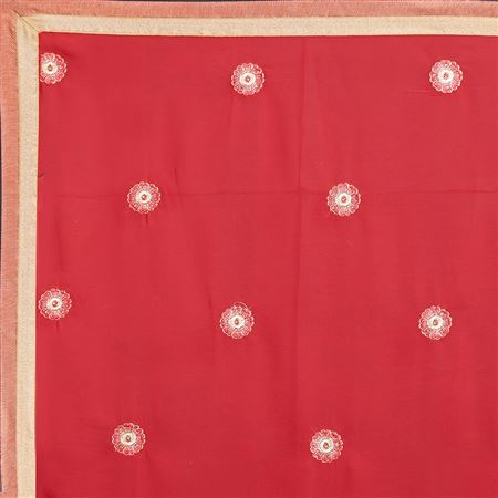 Patch And Border Work Designs On Georgette Function Wear Saree In Red Color With Classic Blouse