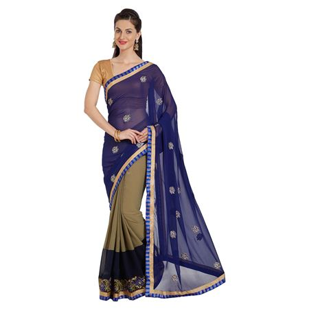 Patch And Border Work On Blue  And Mehendi Green Party Wear Saree In Georgette Fabric