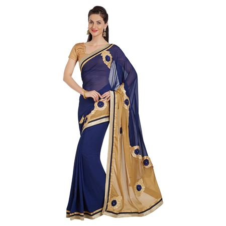Patch And Border Work On Blue Georgette Function Wear Saree With Party Wear Blouse