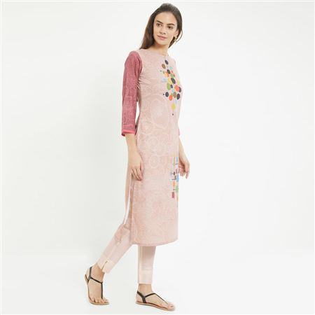 Prime Rayon Office Wear Pastel Brown Color Kurti With Abstract Print Designs