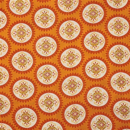 Pure Viscose Rayon Enchanting Orange Color Printed Fabric - 5160B