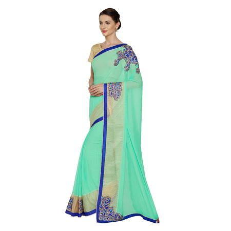 Sea Green Art Silk  Party Wear Saree With Weaving Work And Charming Blouse