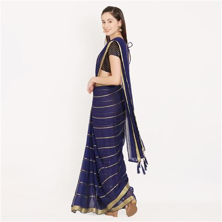 Smashing Blue Color Simple Georgette Saree For Formal Wear