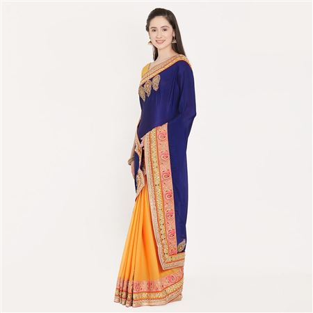 Stunning Border Work On Blue And Yellow Occasional Wear Chiffon Saree
