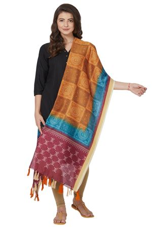 Traditional Wear Geometric Print Dupatta In Mustard Color Chanderi Silk Fabric