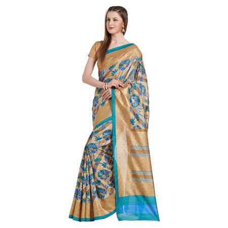 Tussar Silk Fabric Designer Saree In Beige With Weaving Work Designs And Attractive Blouse