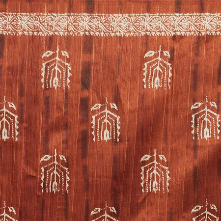 Weaving Work Designs On Brown Occasion Wear Saree In Bhagalpuri Silk Fabric With Enticing Blouse