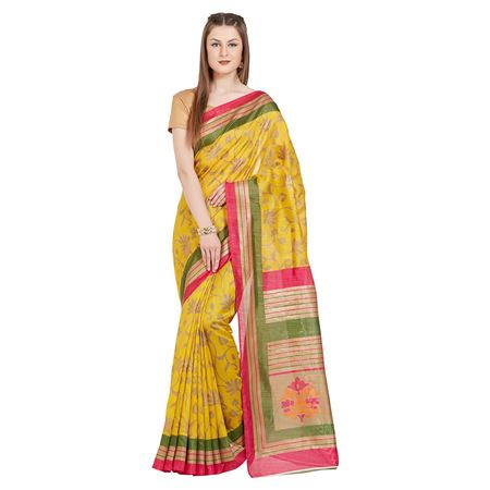 Weaving Work Designs On Tussar Silk Yellow Party Wear Saree With Designer Blouse