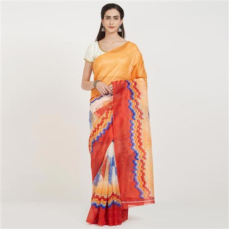 Weaving Work On Designer Saree In Cream And Orange Bhagalpuri Silk Fabric With Likable Blouse