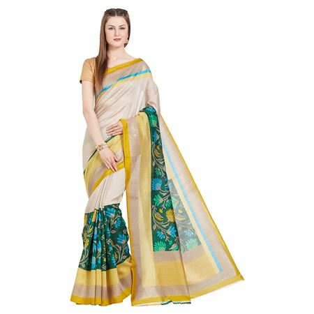 Weaving Work On Designer Saree In Cream Tussar Silk Fabric With Likable Blouse