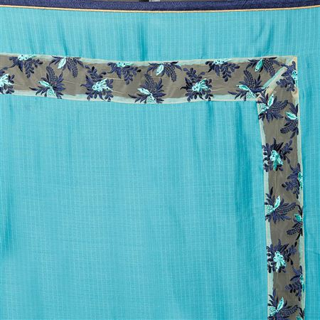 Weaving Work On Designer Saree In Sky Blue Art Silk  Fabric With Likable Blouse