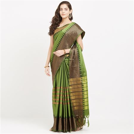 Wonderful Green Color Function Wear Cotton Silk Saree With Designer Weaving Work