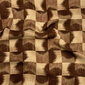 Aesthetic Square Pattern Prints on Rayon Fabric in Brown Color