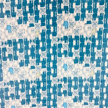 Digital Printed Prime Rayon Cream And Blue Fabric with Animal Print Patterns