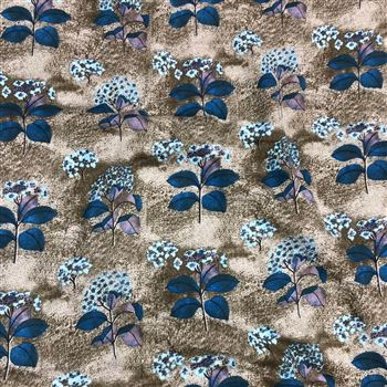 Artistic Flowers and Leaves Print on Rayon Fabric