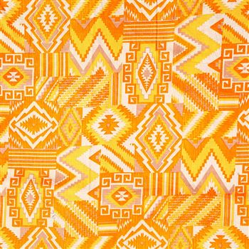 Charming Yellow Color Cotton Satin Fabric With Machine Print - 7161B