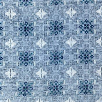 Cotton Enchanting Machine Print Sky Blue Color Fabric - 3167B