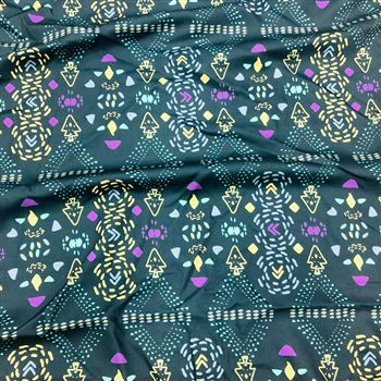 Digital Print Prime Rayon Fabric for Kurtis in Green with Abstract Prints