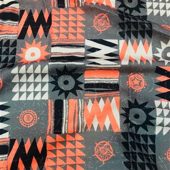Digital Printed Prime Rayon Fabric in Grey Color with Geometric Patterns