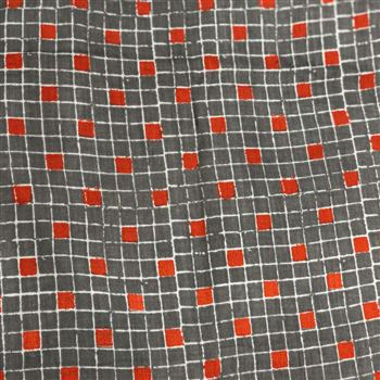 Exquisite Square Prints on Rayon Fabric in Grey Color