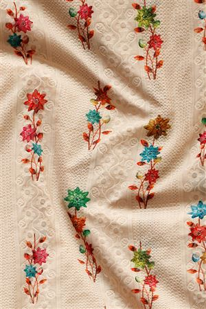 Faserz Fancy Embroidered Digital Print Cotton Casual Fabric In Peach Color