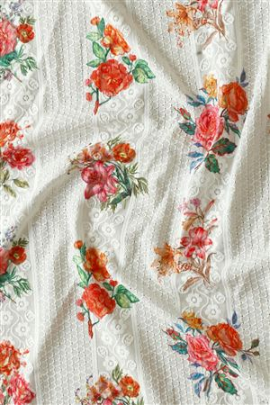 Faserz Off White Color Embroidered Digital Print Cotton Fabric