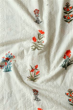Faserz Off White Embroidered Cotton Digital Print Fabric