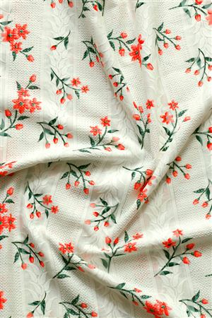 Faserz Off White Embroidered Cotton Fabric Digital Print Fabric