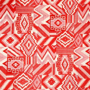Red Color Designer Printed Stylish Cotton Satin Fabric - 7161C